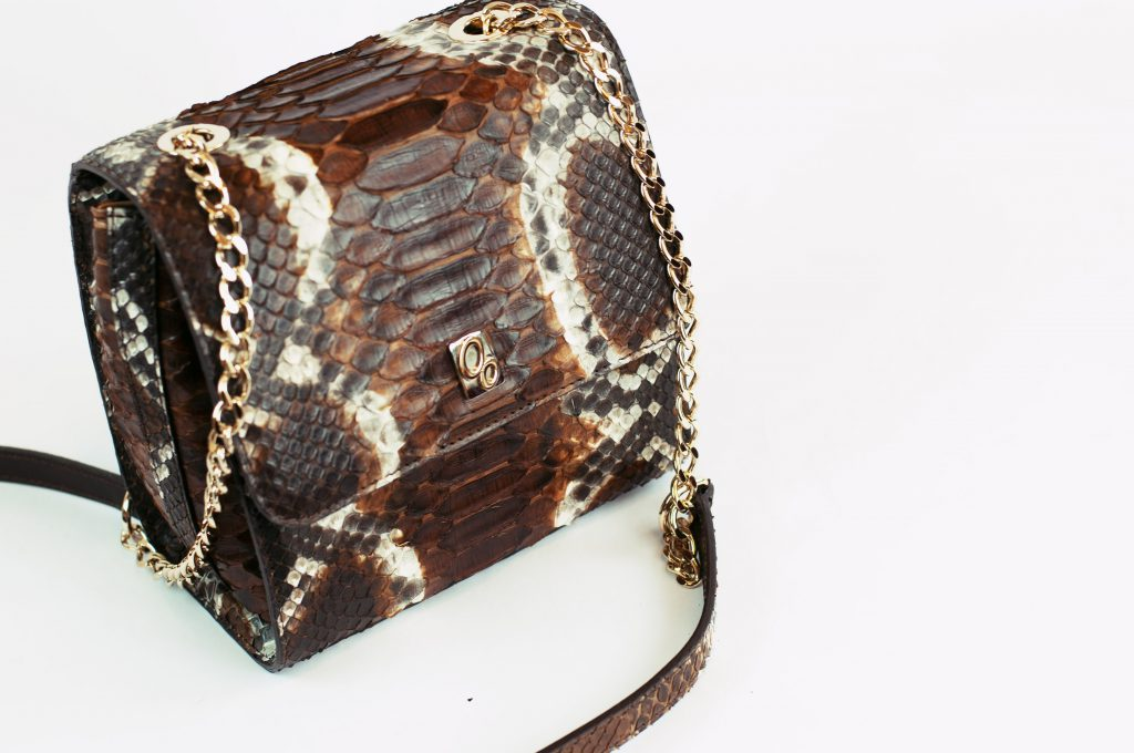 Mini bag in vero pitone Reticulatus marrone