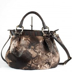 Borsa morbida in pitone front cut color cappuccino GLENI