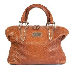 Borsa media in pelle di anaconda cognac made in Italy