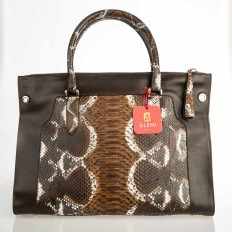 Borsa shopper in vero pitone color  cognac GLENI