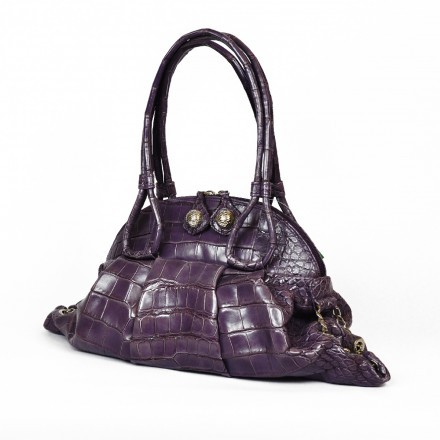 Borsa da donna in alligatore viola
