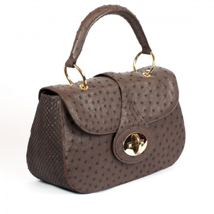 Borsa marrone elegante in struzzo e anaconda made in Italy GLENI