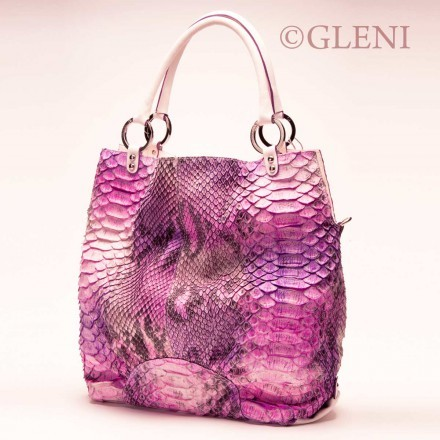borsa shopper in pitone fucsia
