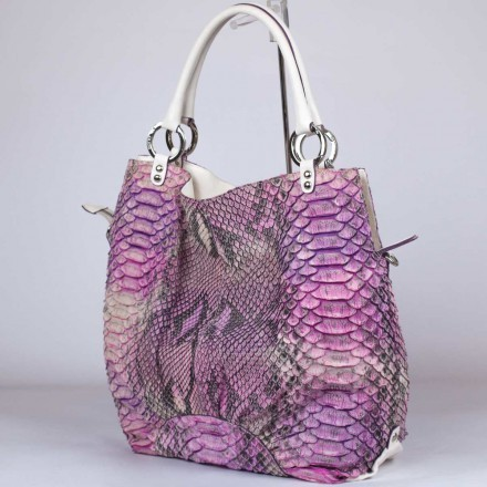 borsa shopper in vero pitone fucsia