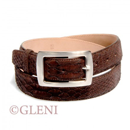 Precious python leather belt 102 color dark brown