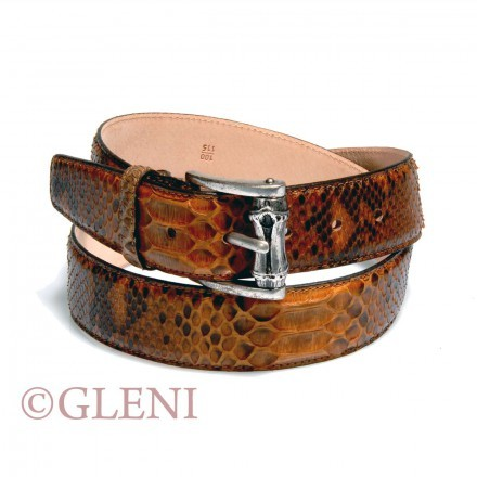 Brown genuine python leather belt 104