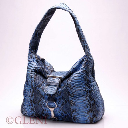 Sensuous woman genuine python handbag 3759 in the beautiful blue deep color