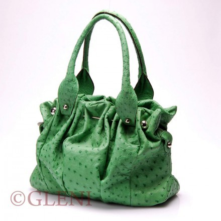 Luxury ostrich handbag 3838 green