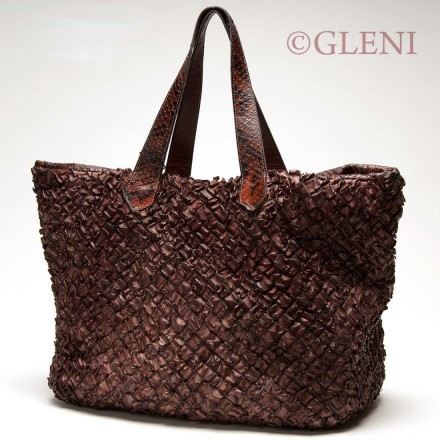 Fashionable genuine calf leather bag with python handles