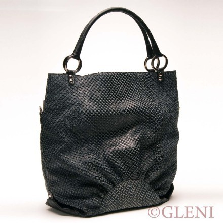 Refined woman tote in anaconda and embossed crocodile leather
