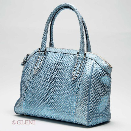 Refined bag in anaconda leather in a metallic sky blue color