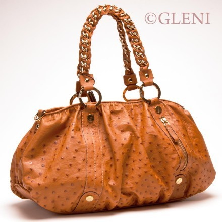 Elegant genuine ostrich shoulder bag with golden hardware