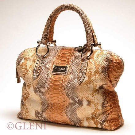 Superb genuine python tote with copper shades