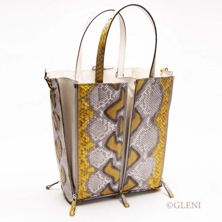Tote in pitone giallo con zip