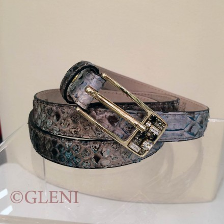 Genuine python leather belt C2000 with rectangular golden buckle