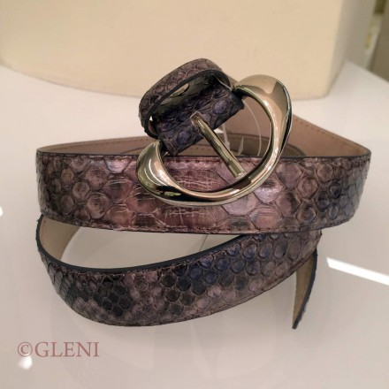 Women's python belt with metal buckle