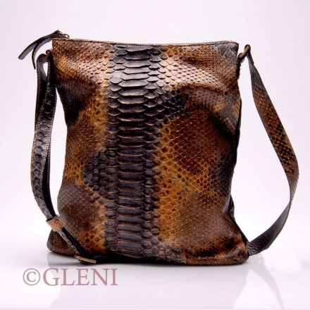 Wide python leather cross-body bag with shoulder strap