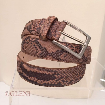 Light brown man belt in python skin C3500