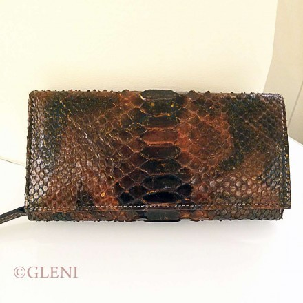 Feminine genuine python leather wallet