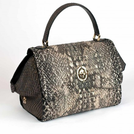 Borsa a mano GLENI in pitone e anaconda made in Italy