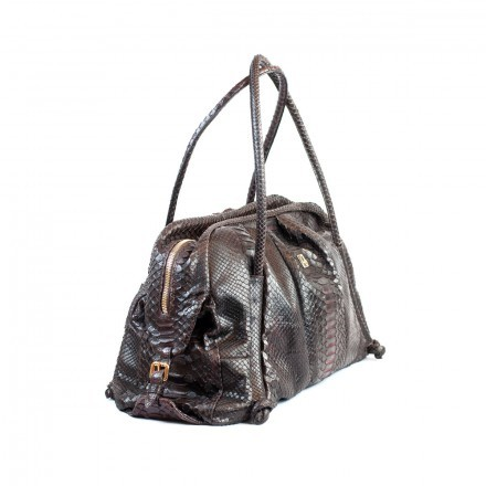 Borsa da donna in pitone marrone con sfumature color vino