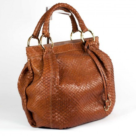 Borsa in vero anaconda marrone made in Italy