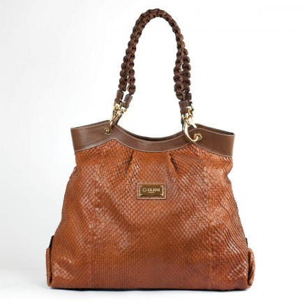Borsa tote in vero anaconda cognac GLENI made in Italy