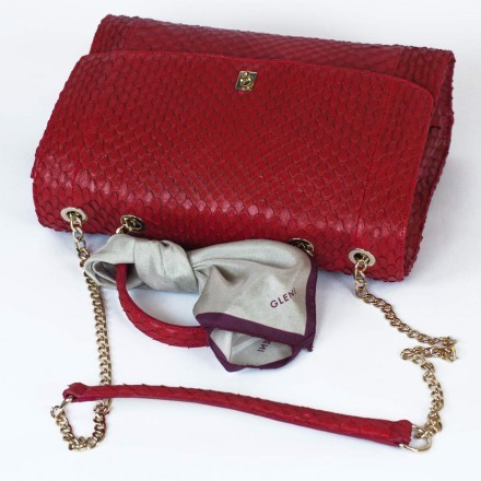 Borsa cartella da donna in vera anaconda rossa GLENI made in Italy