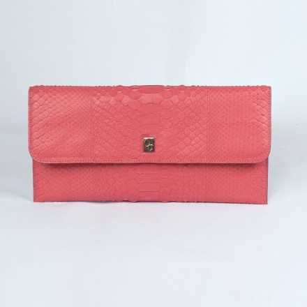 "Pochette ""Vera"" in pitone grapefruit gelato rosa made in Italy"